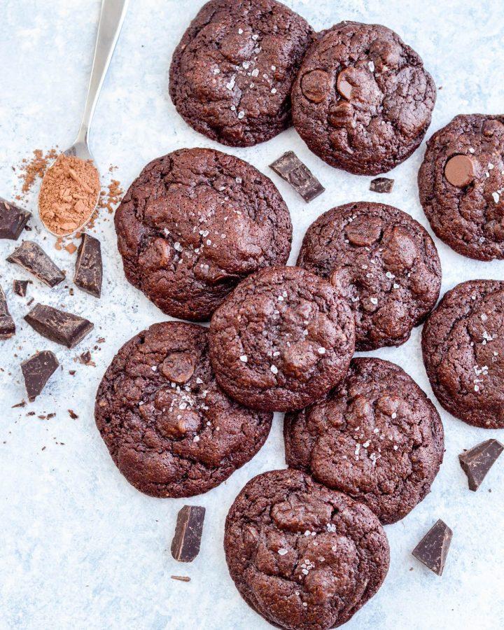 Overhead view of ten Paleo Chocolate Cookies