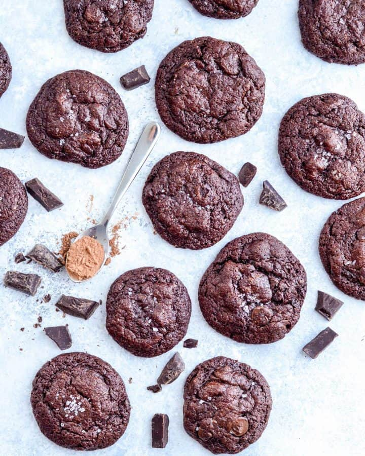 Overhead view of twelve Paleo Triple Chocolate Brownie Cookies