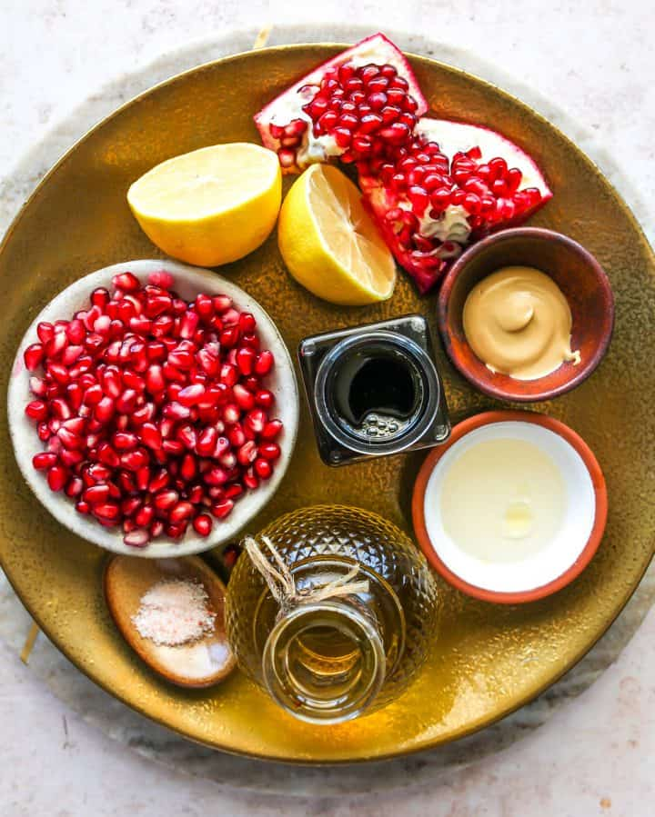 overhead view of the ingredients in this Pomegranate Dressing (Pomegranate Vinaigrette) recipe