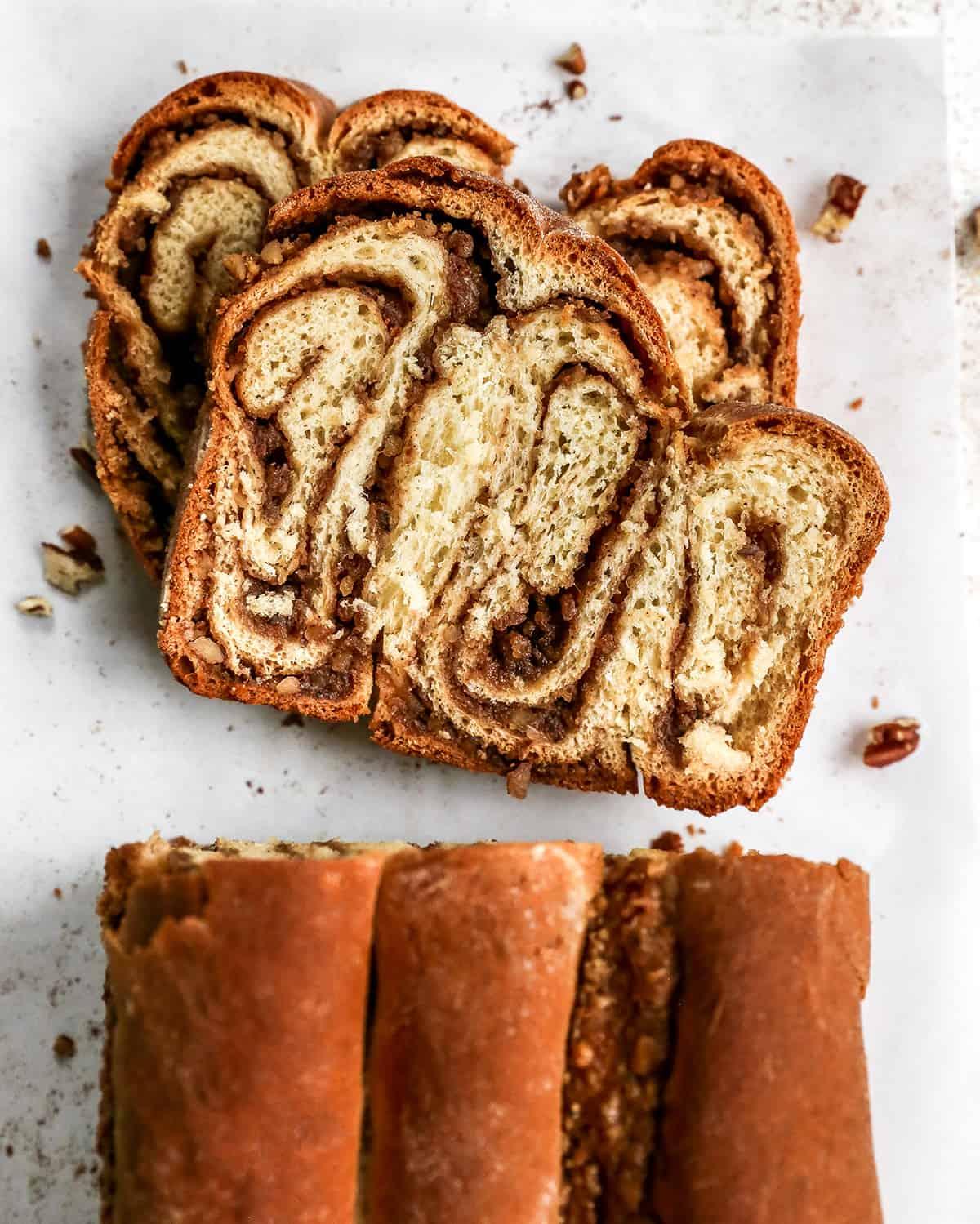 overhead photo of two slices of povitica bread