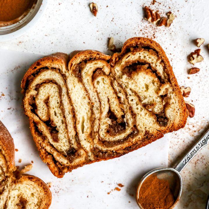 overhead photo of a slice of povitica bread