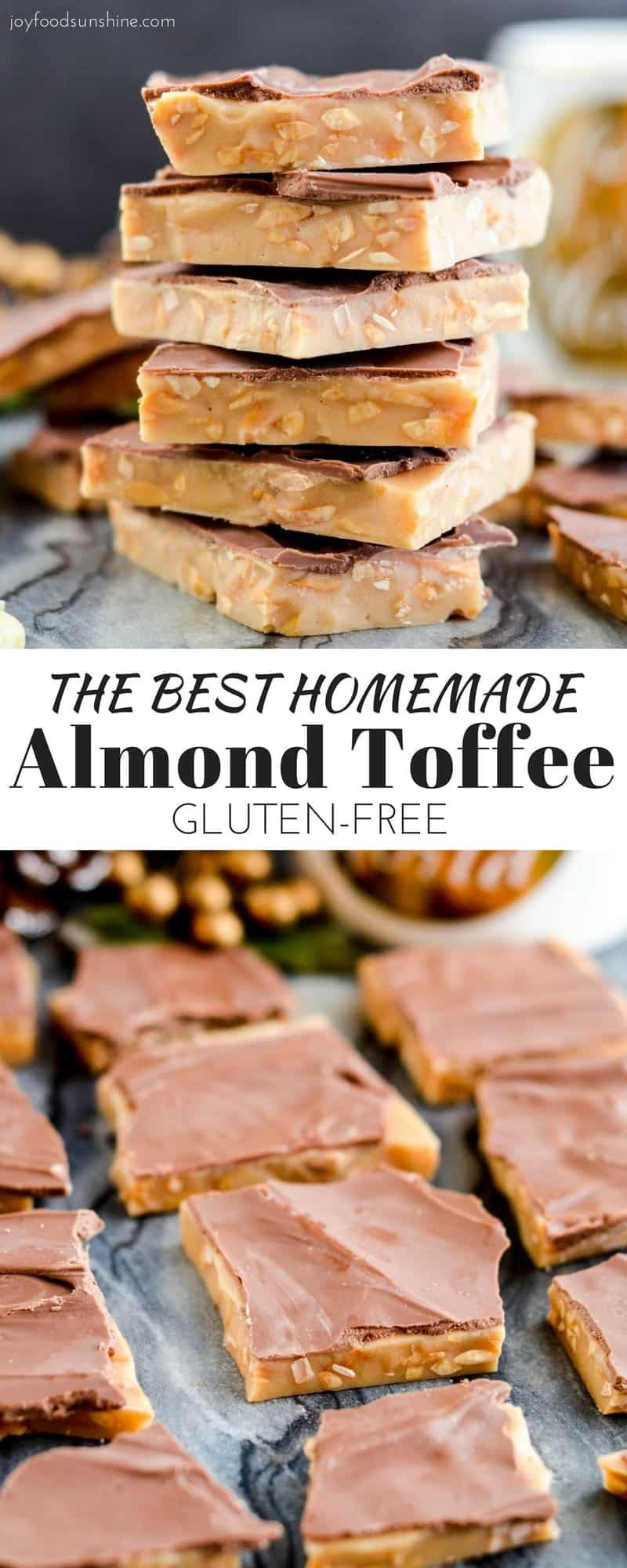 The best Homemade Almond Toffee ever! Only 8 ingredients make this delicious holiday treat that is naturally gluten-free! Perfect to give as gifts to your neighbors and friends!