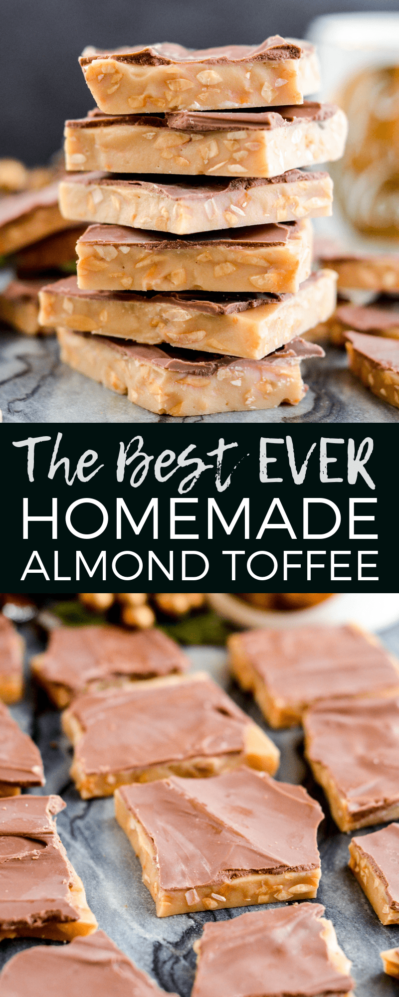 The Best Homemade Almond Toffee Recipe ever! Only 8 ingredients make this delicious holiday candy that is naturally gluten-free! Perfect to give as gifts to your neighbors and friends! #homemadetoffee #Christmas #candy #almondtoffee #toffee #christmascandy #glutenfree #grainfree