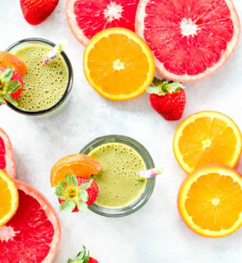 This Citrus Protein Green Smoothie is the perfect healthy breakfast or snack. It's a plant-based, clean eating smoothie recipe that is packed with grapefruit, oranges, greens and protein! #breakfast #smoothie #greensmoothie #vitamix #grapefruit #citrus #snack #dairyfree #glutenfree #paleo #vegan