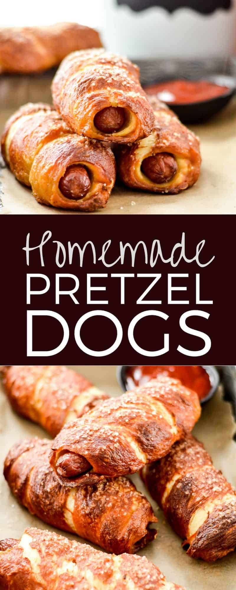 Homemade Pretzel Dogs! A MANtastic recipe for all your sports watching needs! A from-scratch dough is wrapped around high-quality hot dogs making these a much better choice than store bought varieties! Plus they're out of this world delicious and freezer friendly! #homemade #prezteldog #gameday #recipe #fromscratch