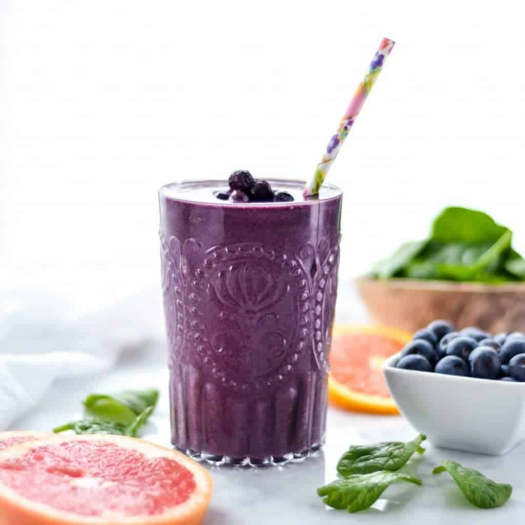 This Wild Blueberry Citrus Green Smoothie is made with only 7 ingredients and is ready in under 5 minutes! Packed full of antioxidants and Vitamin C, this delicious smoothie is gluten-free, dairy-free, vegan and paleo, making it an amazing breakfast or snack!