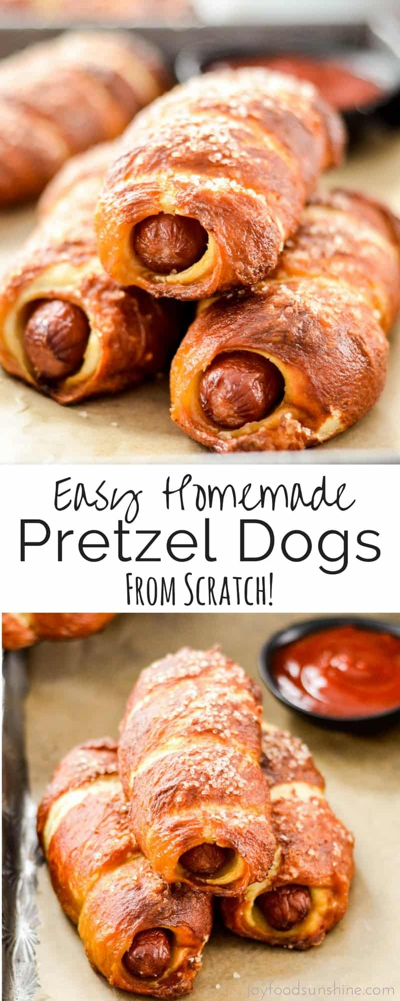 Homemade Pretzel Dogs! A MANtastic recipe for all your sports watching needs! A from-scratch dough is wrapped around high-quality hot dogs making these a much better choice than store bought varieties! Plus they're out of this world delicious and freezer friendly!