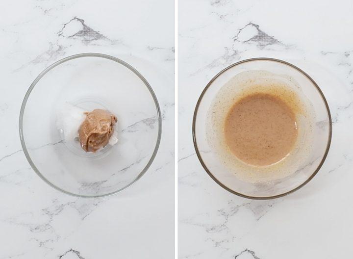 two photos showing how to make Healthy Mug Brownie Recipe (Paleo & Vegan)