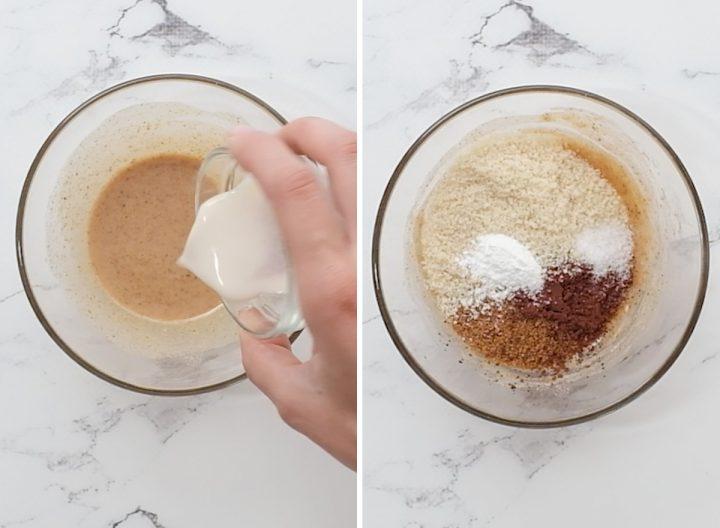 two photos showing how to make a Healthy Mug Brownie Recipe (Paleo & Vegan)