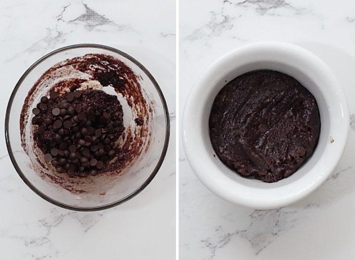 two photos showing how to make this Healthy Mug Brownie Recipe (Paleo & Vegan)