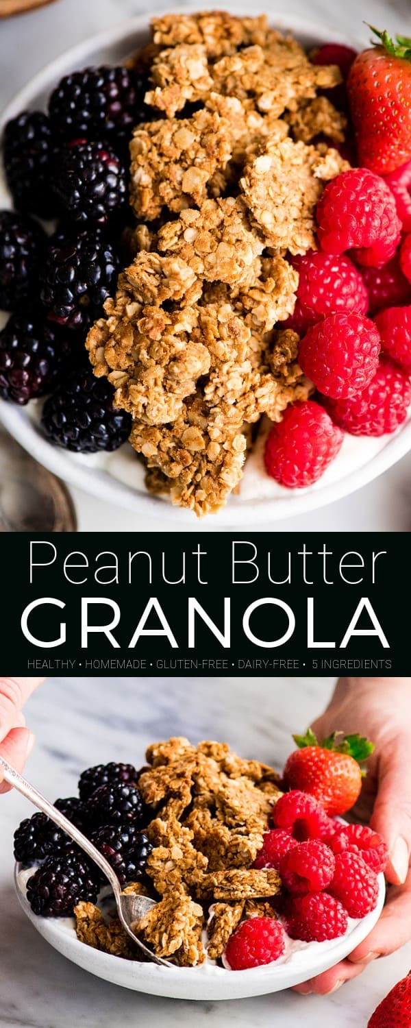 This Healthy Peanut Butter Granola Recipe is the perfect make-ahead breakfast! This easy homemade granola recipe is made with only 6 ingredients in 30 minutes! Plus it's gluten-free, dairy-free, refined sugar free, oil free and vegan! #healthygranola #peanutbutter #peanutbuttergranola #breakfast #recipe #granola #glutenfree #vegan #dairyfree #vegangranola