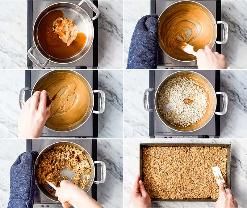 a collage of six photos showing overhead views of the steps in making this healthy peanut butter granola recipe