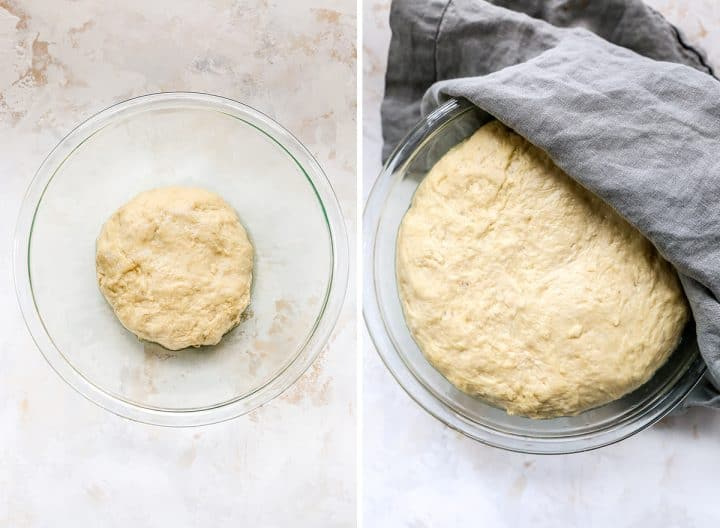 two overhead photos showing How to make Pretzel Dogs