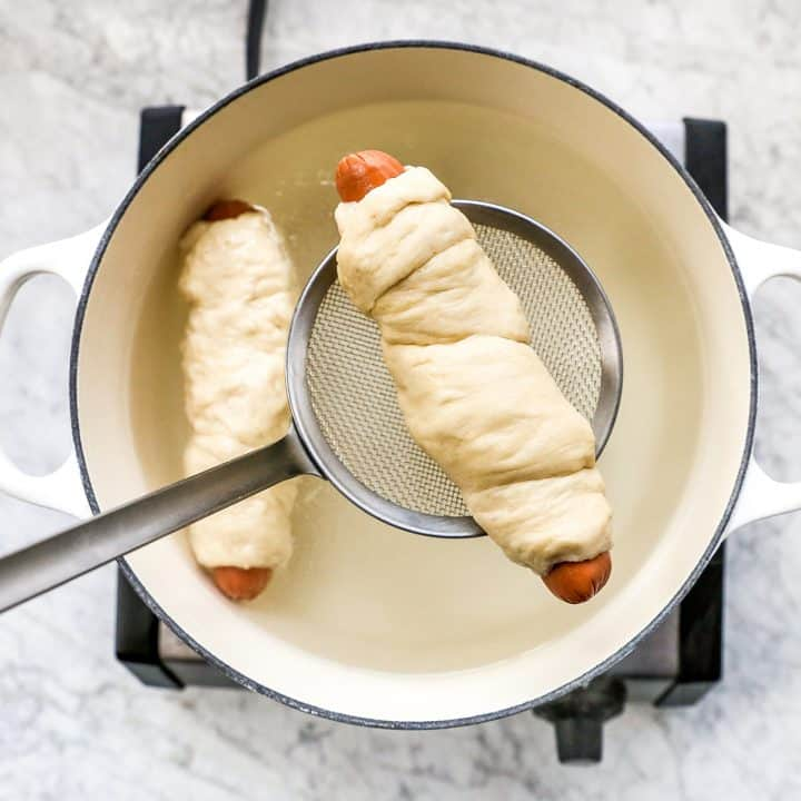 overhead photo showing How to make Pretzel Dogs