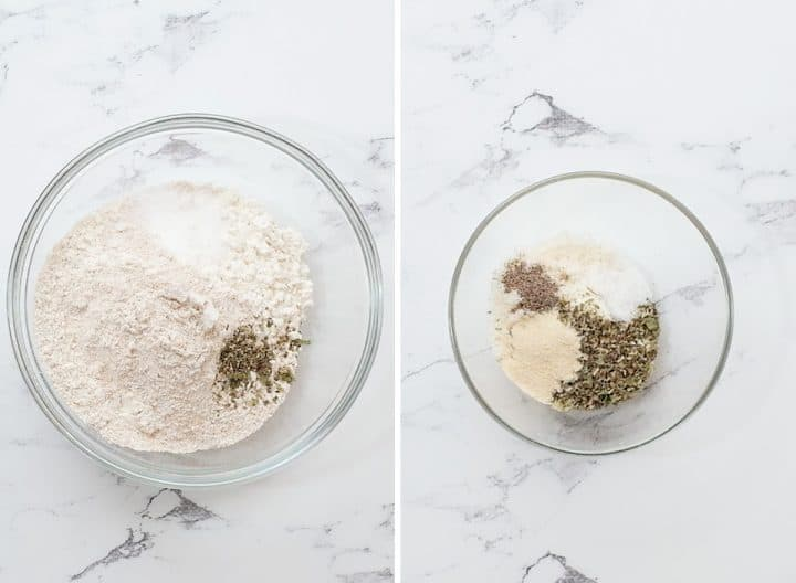 two photos showing how to make Whole Wheat Focaccia Bread mixing dry ingredients