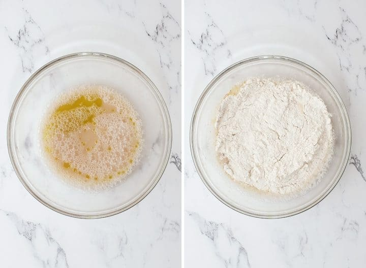 two photos showing how to make Whole Wheat Focaccia Bread proofing yeast and adding dry ingredients