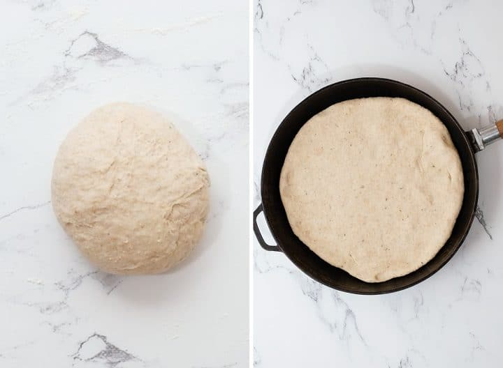 two photos showing how to make Whole Wheat Focaccia Bread dough in a ball and then rolled out in the skillet