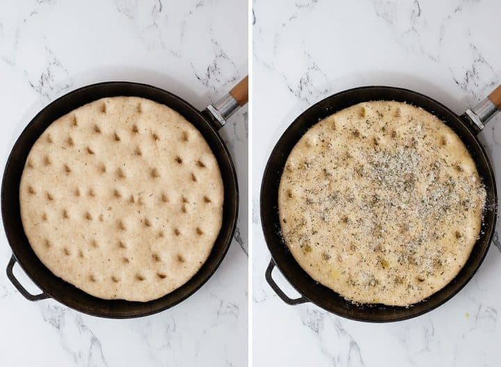 two photos showing how to make Whole Wheat Focaccia Bread after rising before baking