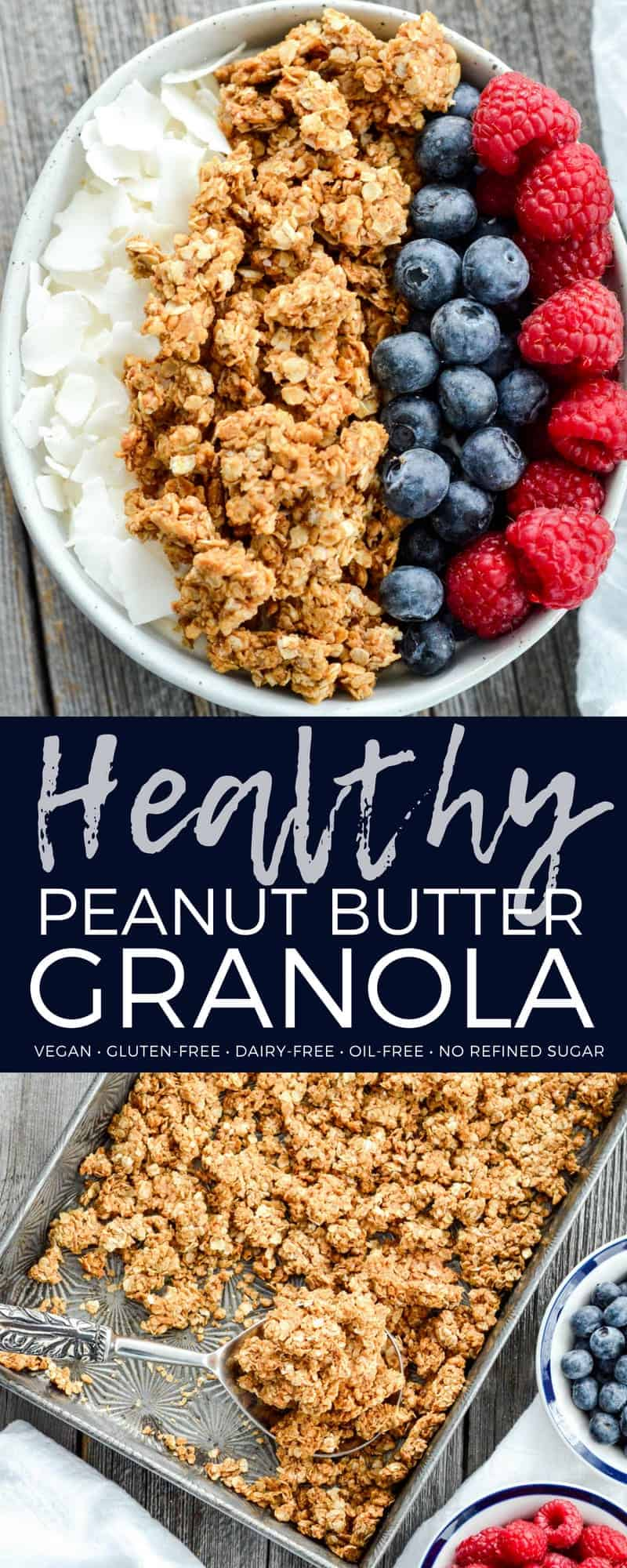 This Healthy Peanut Butter Granola is the perfect make-ahead breakfast recipe! With only 6 ingredients it's so easy to make (ready in less than 30 minutes)! Gluten-free, dairy-free, refined sugar free, oil free and vegan! #healthygranola #peanutbutter #breakfast #recipe #granola #glutenfree #vegan #dairyfree