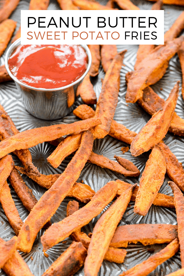 Peanut Butter Crusted Sweet Potato Fries! An easy, healthy side dish recipe made with only 4 ingredients! A light crusting of peanut butter adds protein and makes these sweet potato fries irresistible! Gluten-free, dairy-free, sugar-free and vegan! #sweetpotato #fries #peanutbutter #vegan #glutenfree #dairyfree