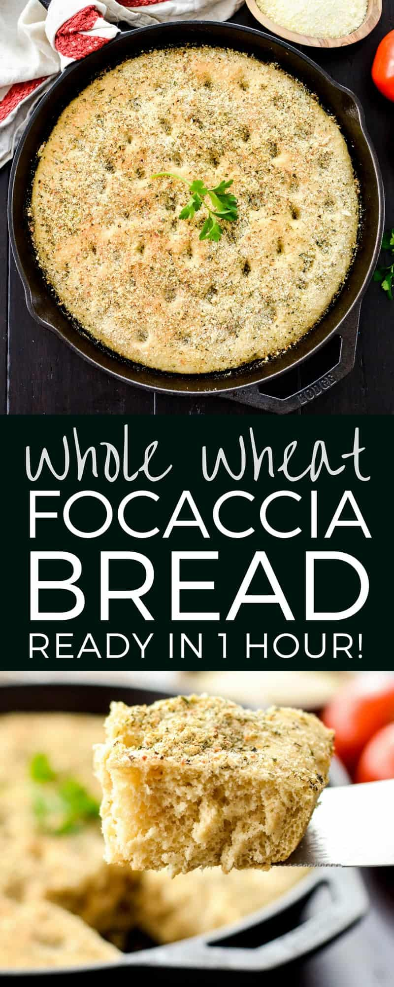 This Whole Wheat Focaccia Bread Recipe is ready in 1 hour flat! An easy, delicious bread recipe that is the perfect side dish to any meal! #homemadebread #focacciabread #recipe #wholewheat