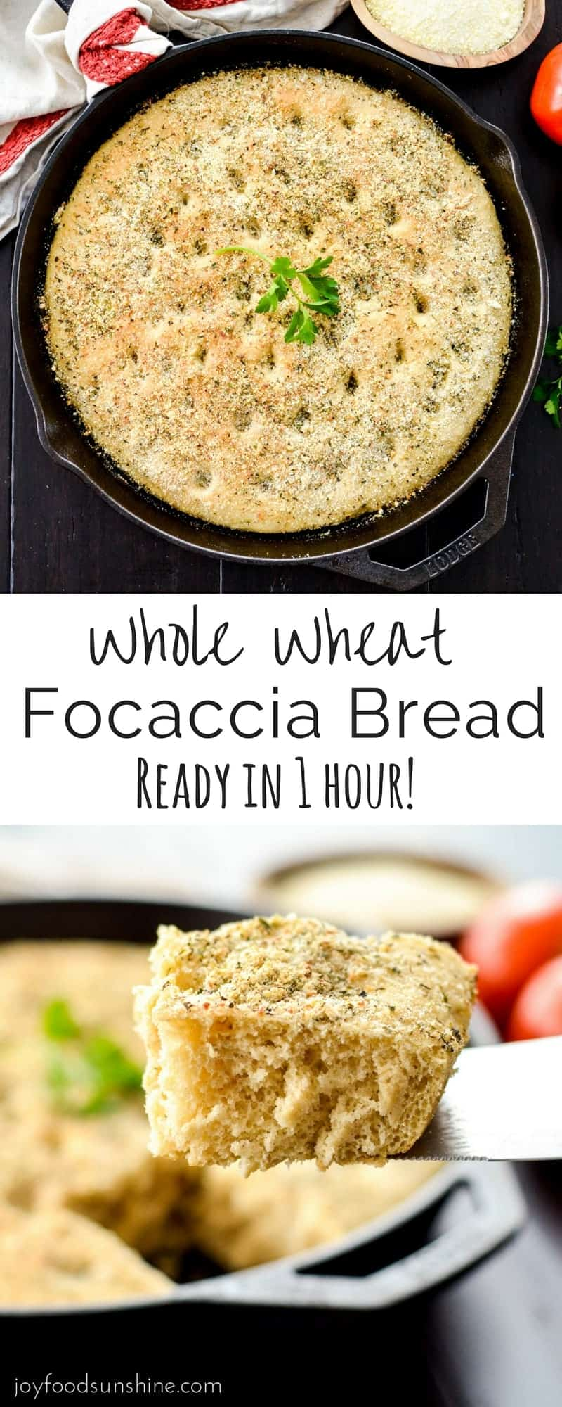 This Whole Wheat Focaccia Bread is ready in 1 hour flat! An easy, delicious bread recipe that is the perfect side dish to any meal!