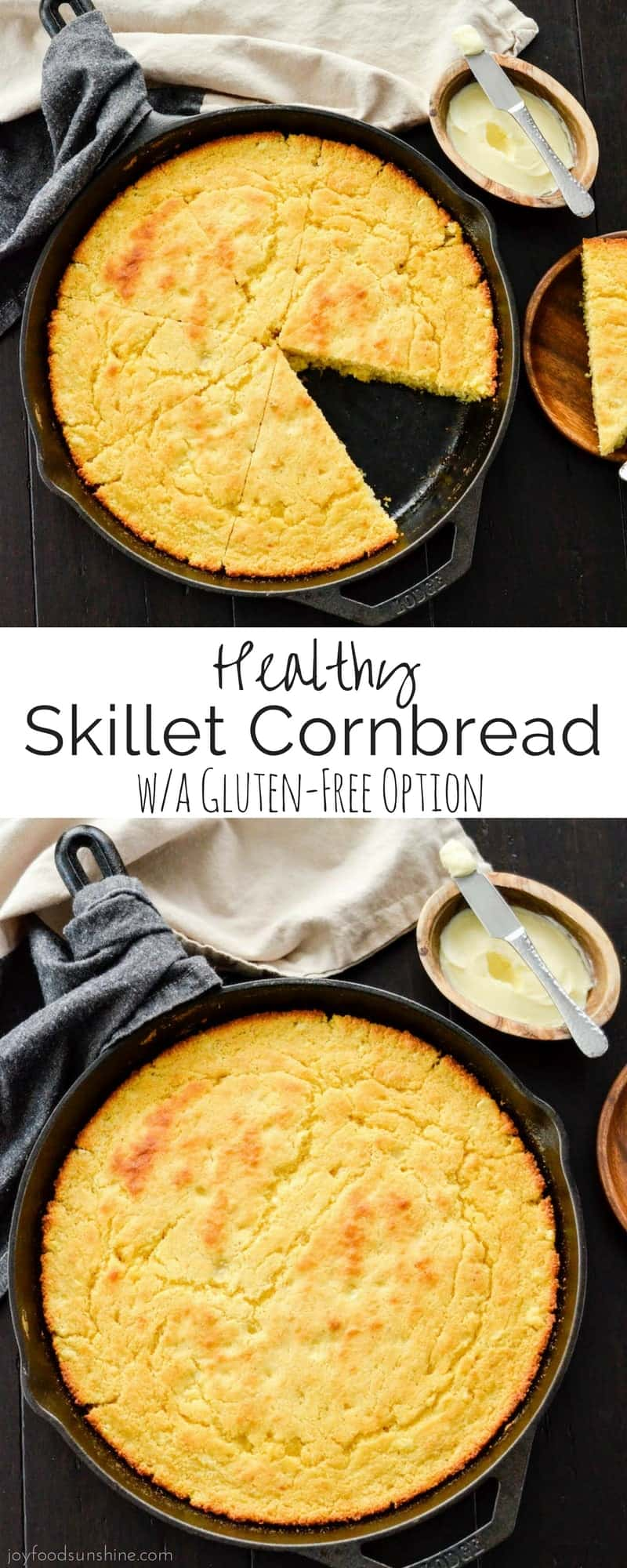This easy Healthy Skillet Cornbread recipe is moist, slightly sweet and bursting with flavor! The perfect side dish to a bowl of chili!