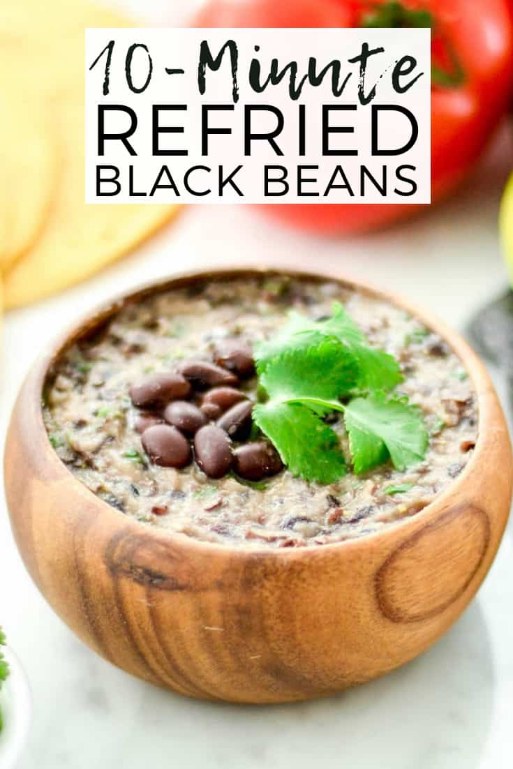 Homemade Refried Black Beans ready in 10 minutes! The perfect addition to your family taco nights! Vegan, gluten-free & oil free!  #refriendbeans #blackbeans #vegan #oilfree #sidedish #easy #healthyrecipe