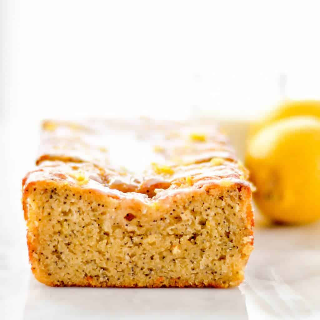 front view of a slice of Paleo Lemon Poppyseed Bread