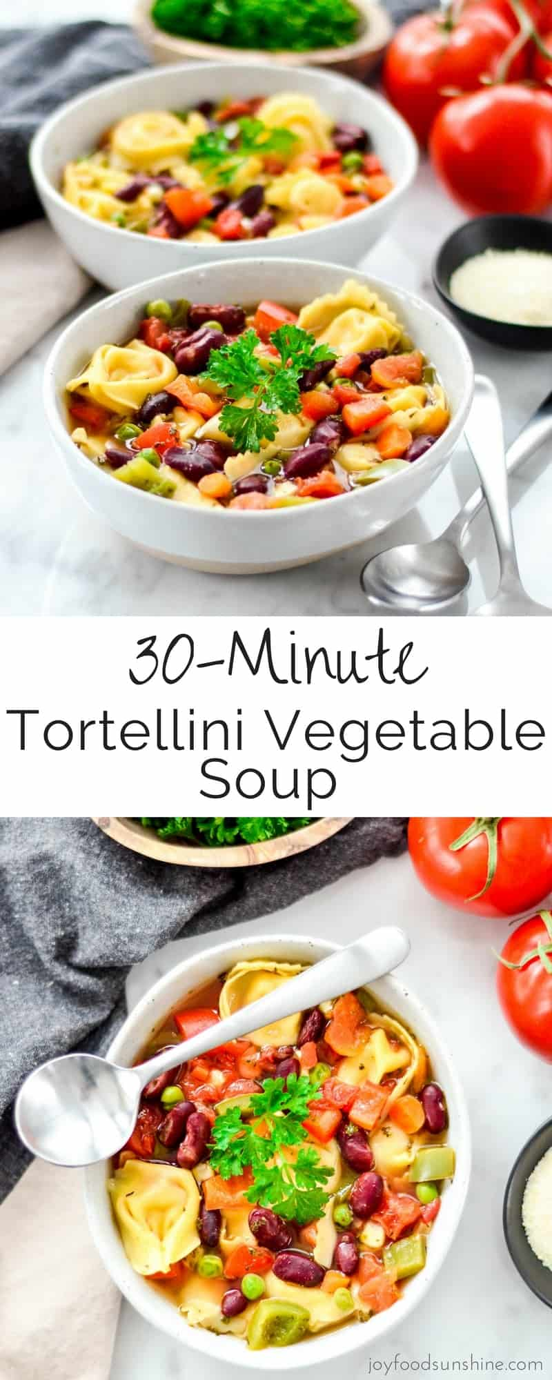 30 Minute Tortellini Vegetable Soup! An easy, healthy & delicious dinner recipe perfect for the busiest weeknights!