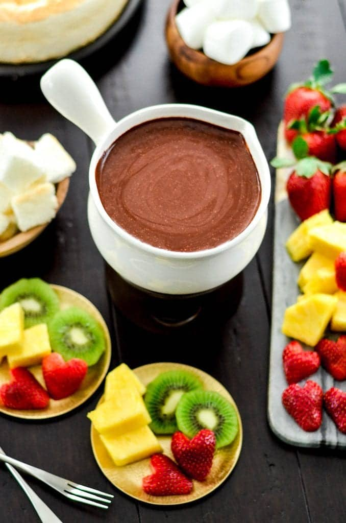 Overhead view of Vegan Chocolate Fondue
