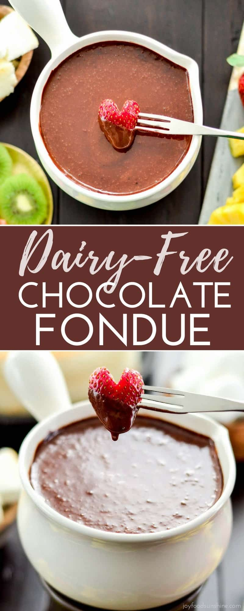 This Dairy-free Vegan Chocolate Fondue Recipe is made in 5 minutes with 6 ingredients! It's the perfect fancy dessert to feed a crowd #vegan #fondue #chocolate #dairyfree #dessert #vitamix #paleo #refinedsugarfree