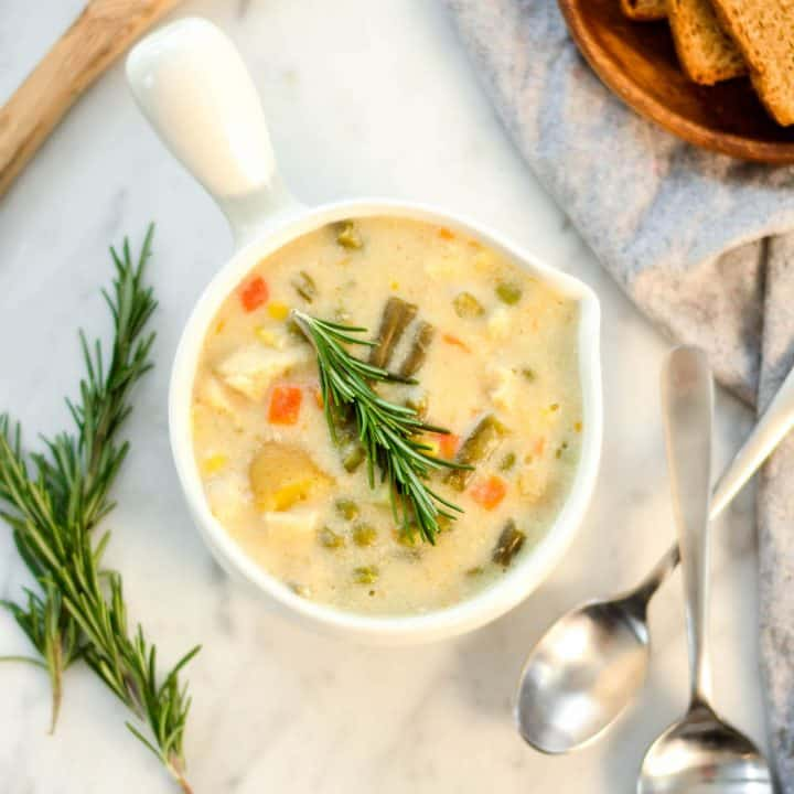Overhead view of Slow Cooker Chicken Pot Pie Soup