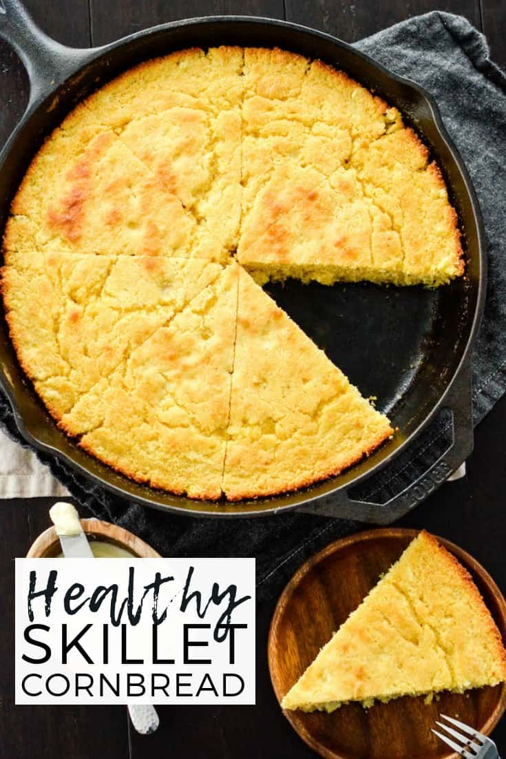 This easy Healthy Skillet Cornbread recipe is moist, slightly sweet and bursting with flavor! The perfect side dish to a bowl of chili! #healthyrecipe #cornbread #skillet #homemade