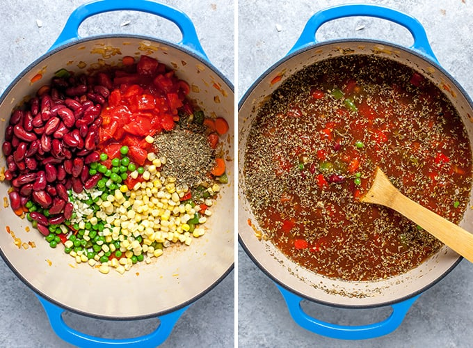 two overhead photos showing how to make tortellini soup