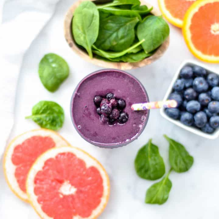 Overhead view of a Blueberry Citrus Smoothie with Spinach