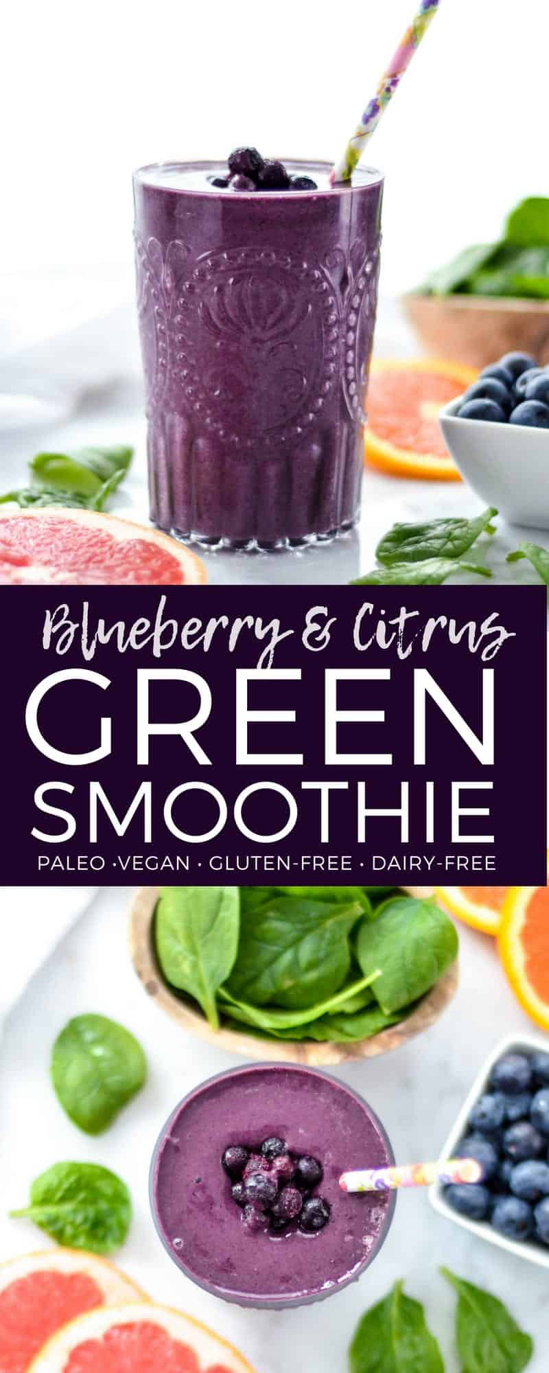 This Blueberry Citrus Green Smoothie is made with only 7 ingredients and is ready in under 5 minutes! Packed full of antioxidants and Vitamin C, this green smoothie is gluten-free, dairy-free, vegan and paleo, making it an amazing breakfast or snack! #citrus #blueberry #greensmoothie #smoothierecipe #vitamix
