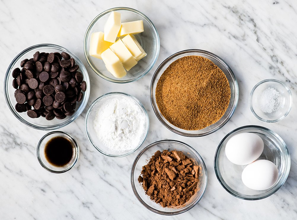 Overhead view of the ingredients in this Paleo Flourless Brownies recipe