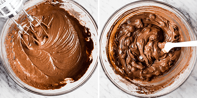 collage of two photos showing the paleo flourless brownies batter being beaten and after adding chocolate chips