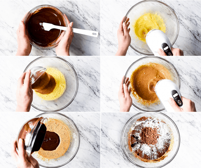 Collage of six overhead photos of the steps in making these paleo flourless brownies