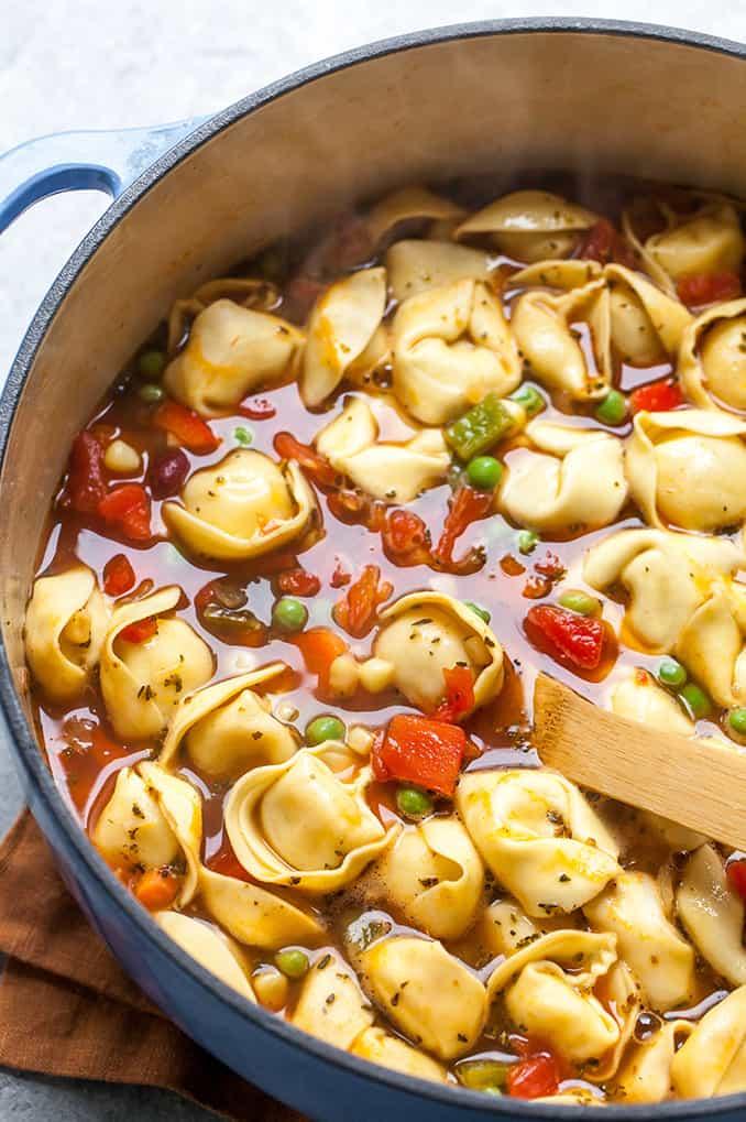 tortellini soup in a pot