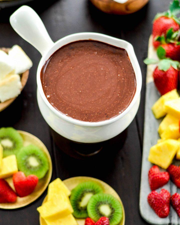Overhead view of a bowl of Vegan Chocolate Fondue