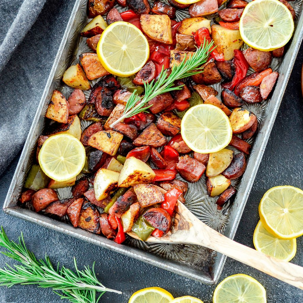 Sheet Pan Roasted Potatoes, Sausage & Peppers! An easy, one-pan meal made with only 6 ingredients! Gluten-free, dairy-free and paleo-friendly!
