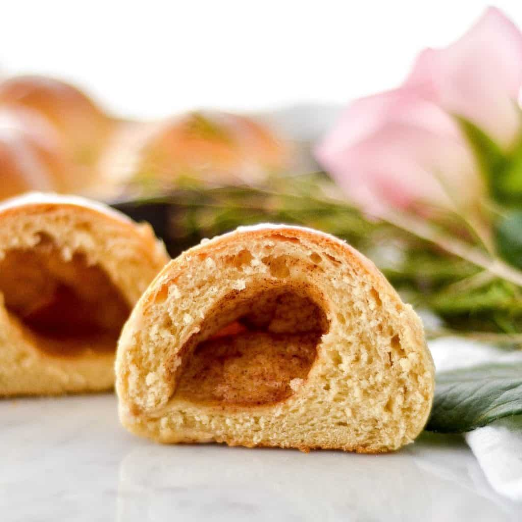 Front view of homemade resurrection rolls cut in half and open showing the