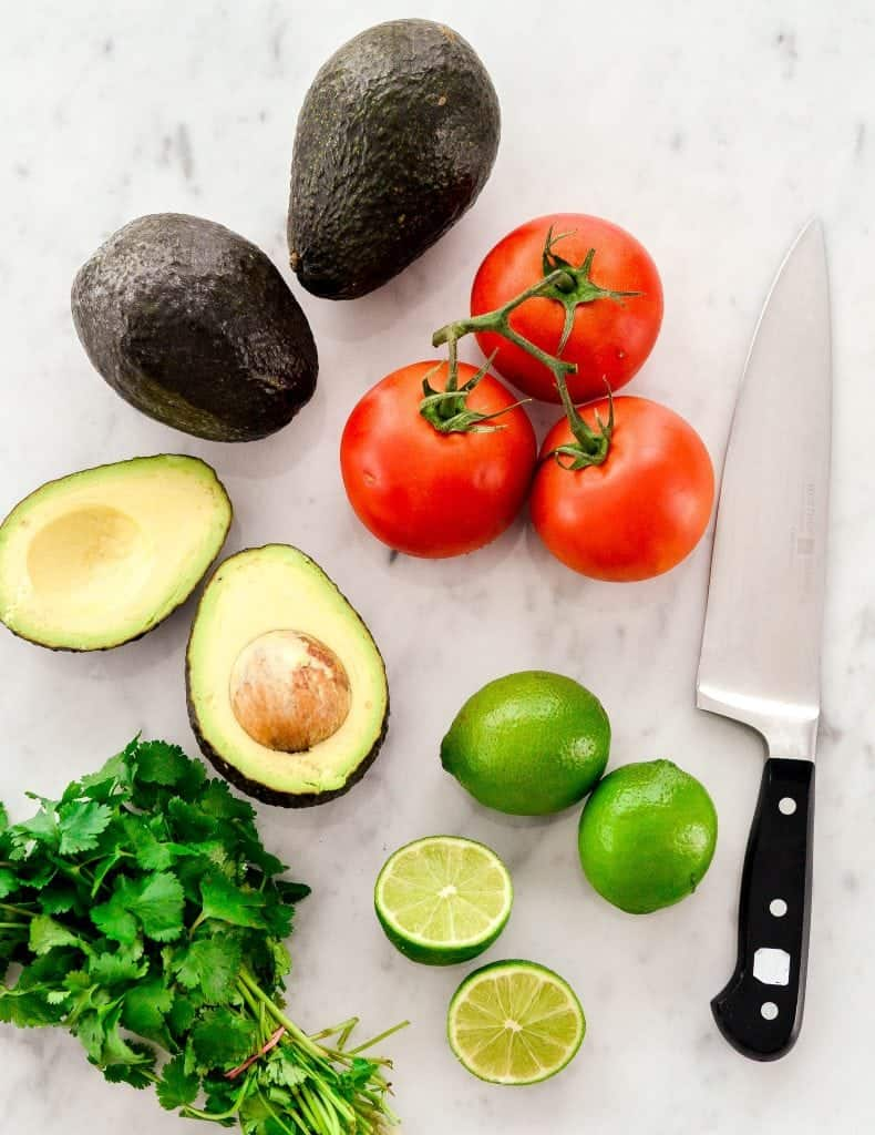 Overhead view of the ingredients in Easy Homemade Guacamole recipe