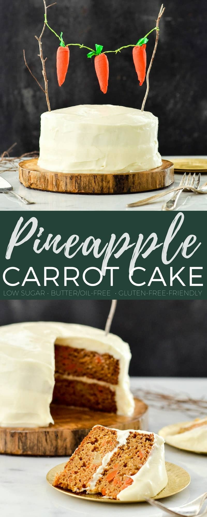 This Healthy Carrot Pineapple Cake is a lightened-up version of everyone's favorite spring dessert! It is low-sugar, has no butter or oil and can easily be made gluten-free! #carrotcake #dessert #healthyrecipe #recipe #dairyfree #oilfree
