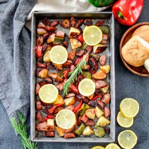Sheet Pan Roasted Sausage & Potatoes with Peppers