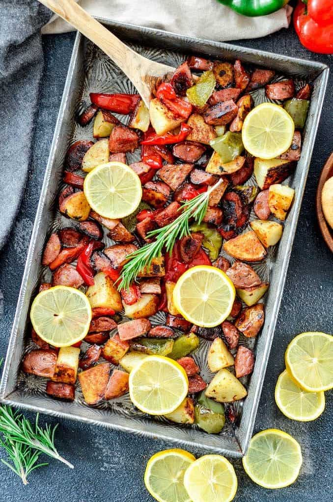 Overhead view of Sheet Pan Roasted Sausage & Potatoes with Peppers