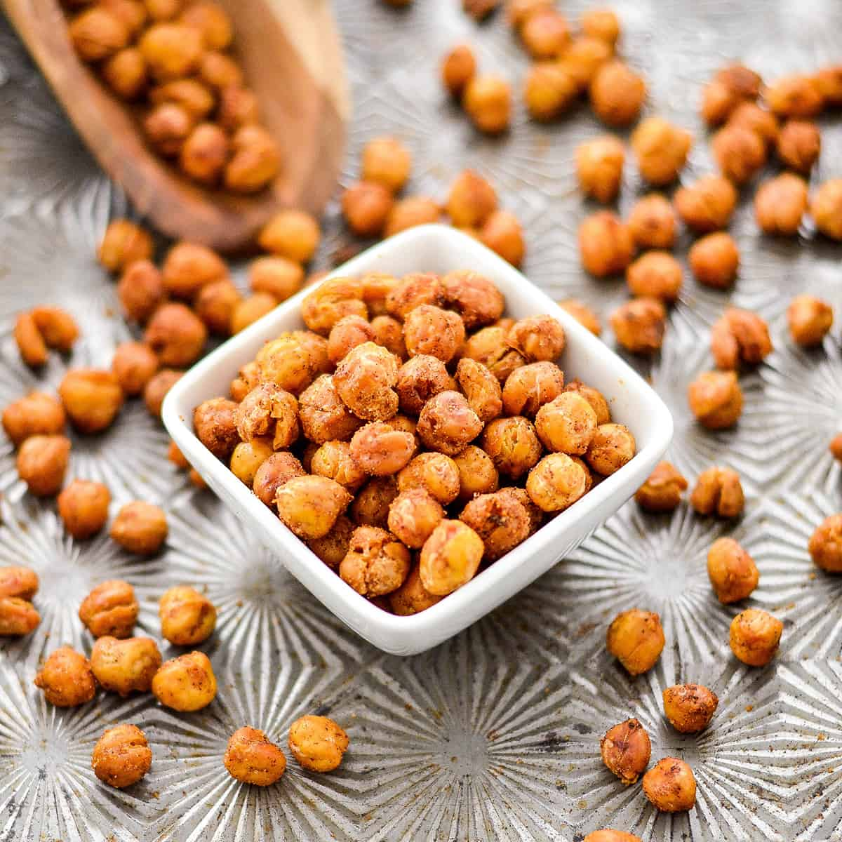 front view of a square dish full of crunchy roasted chickpeas