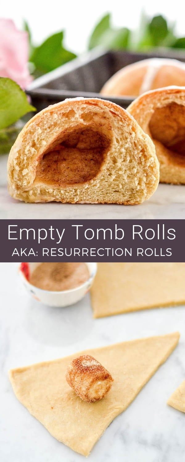 Celebrate the true meaning of Easter by making these Homemade Resurrection Rolls from scratch! They really look like empty tombs and taste amazing! NO canned dough used here! #emptytomb #resurrectionrolls #easter #homemade #rolls